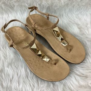 Vionic Rest Nala Cork Gold T Strap Comfort Sandals
